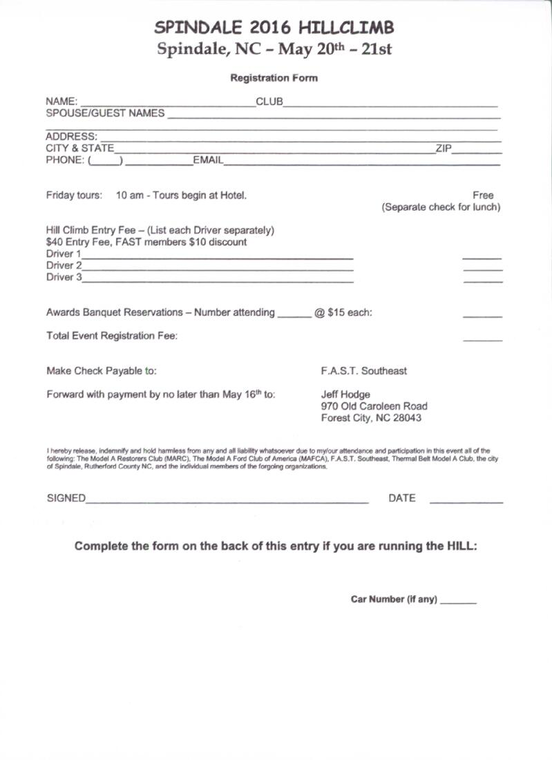 Spindale Registration Form, page 1